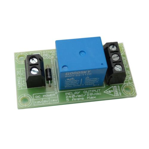 AS8043-5-6-12-24KT - Handy SPDT 5A Mains Relay Board (6-12-24Vdc Input Versions)