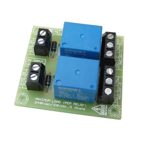 2 Channel 5A SPDT Mains Relay Board (6-12-24Vdc Input Versions)