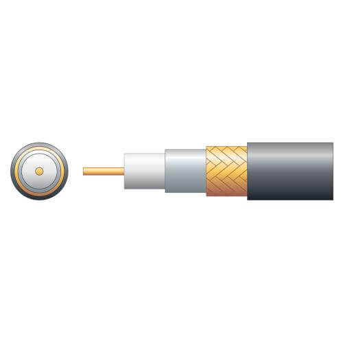 808.101UK - RG59B/U 75 Ohm Foam Filled Coaxial Cable, Copper Braid, Black, 100m Reel