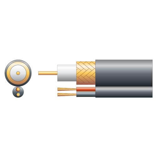 808.105UK - RG59B/U 75 Ohm Shotgun Coaxial Cable, CCA Braid, Black, 100m Reel
