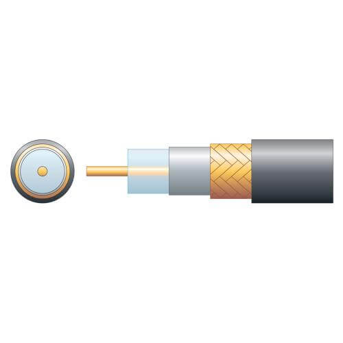 808.132UK - RG6 75 Ohm Air Spaced PE Coaxial Cable, Copper Braid, Black, 100m Reel
