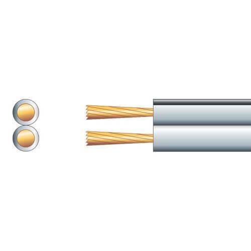Speaker Cable, Heavy Duty Figure 8, 13A, White, 100m Reel