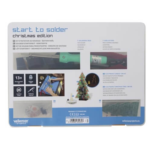 Velleman EDU04 - Christmas Themed Start to Solder Educational Kit (2-pin Euro Plug Soldering Iron)