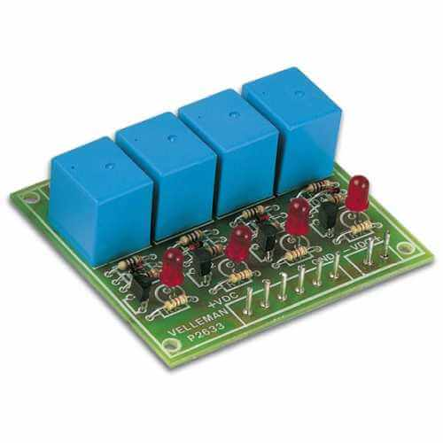 Velleman K2633 - 4-Channel Logic Activated Relay Card Electronic Kit
