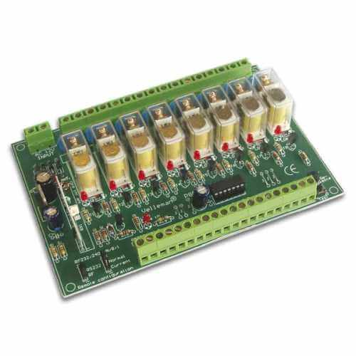 Velleman K8056 - 8-Channel Relay Interface Card Kit (Standalone, RS232 or Optional RF)